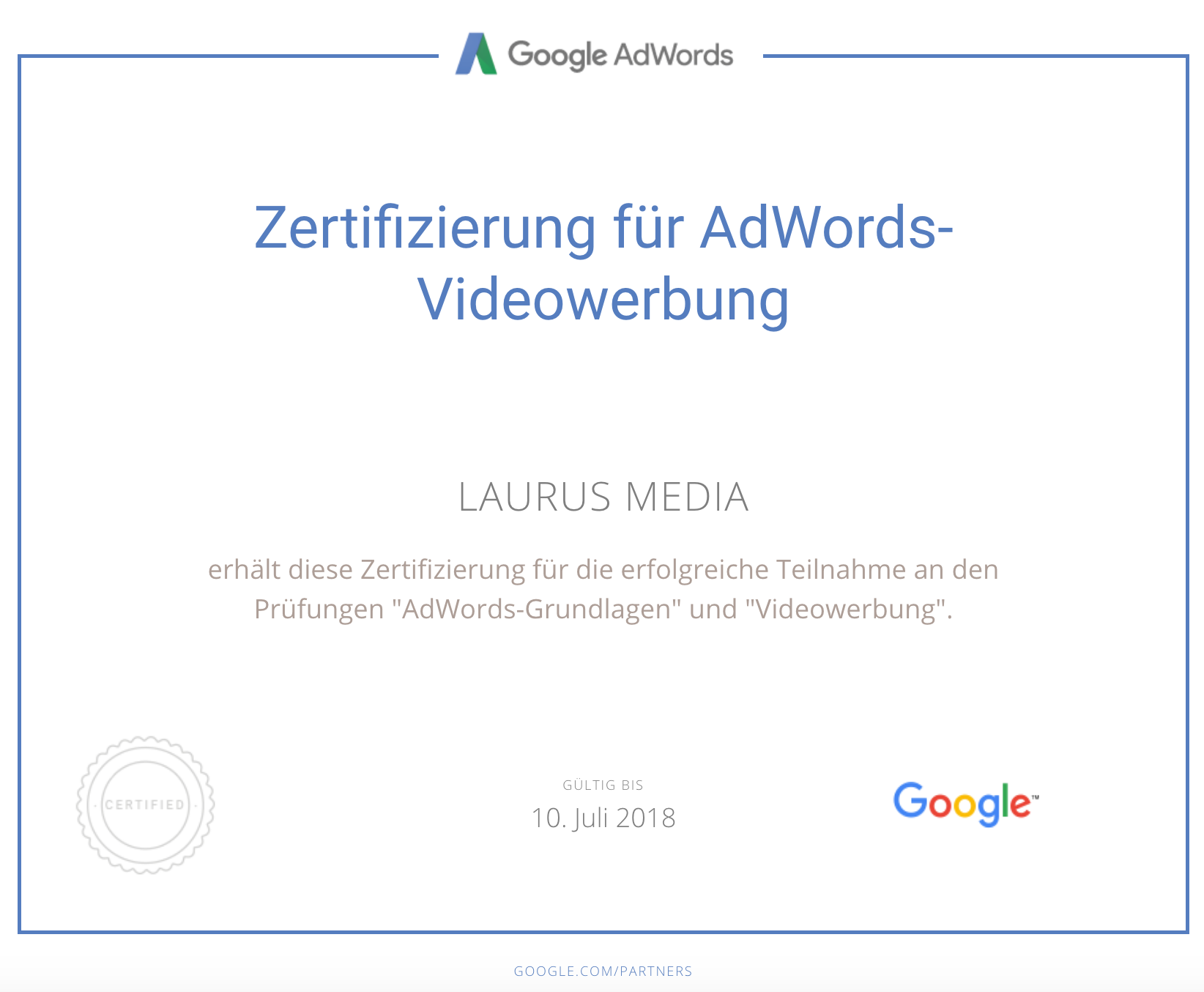 Google Adwords Certified - Laurus Media