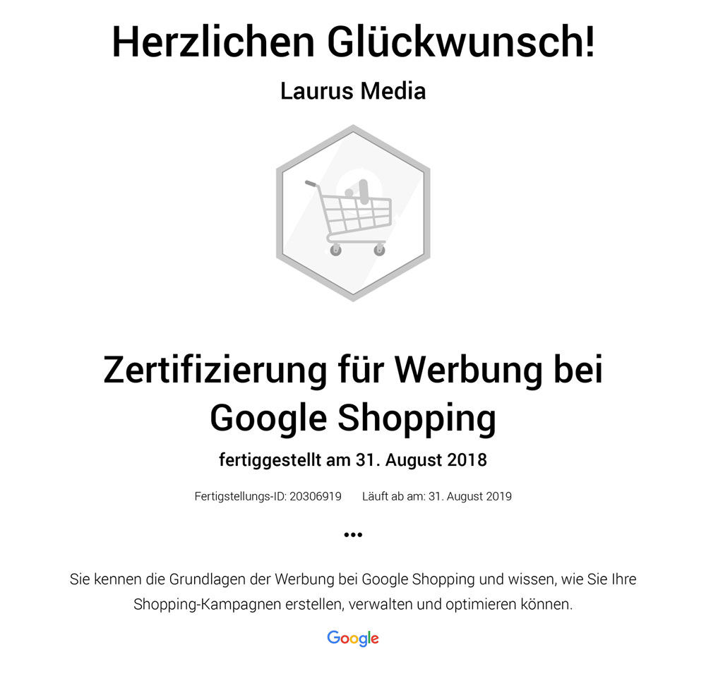 Google Shopping Certified - Laurus Media